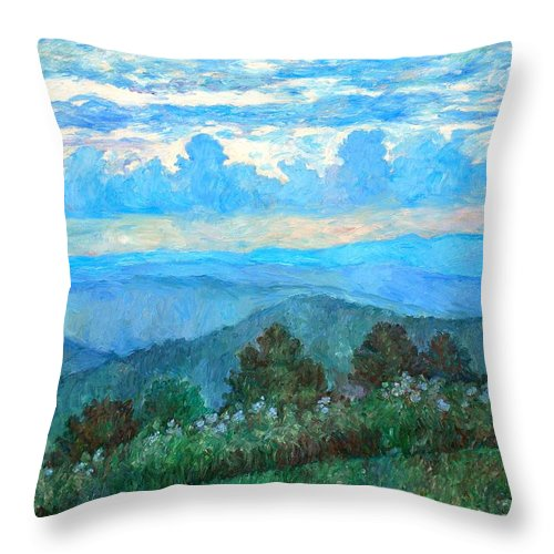 Landscape Throw Pillow featuring the painting A Path to Rock Castle Gorge in the Evening by Kendall Kessler