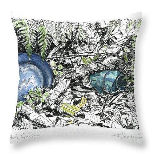 Fine Art Throw Pillow featuring the drawing A Potters Garden - Section 02 by Kerryn Madsen- Pietsch