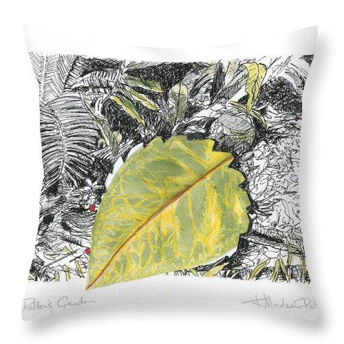 Fine Art Throw Pillow featuring the drawing A Potters Garden - Section 03 by Kerryn Madsen- Pietsch