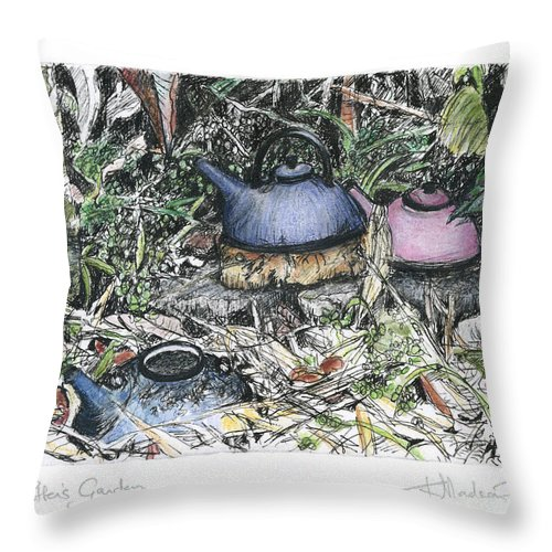 Fine Art Throw Pillow featuring the drawing A Potters Garden - Section 04 by Kerryn Madsen- Pietsch