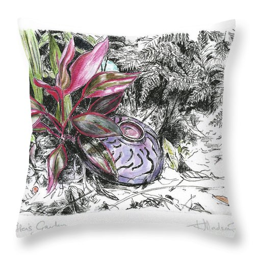 Fine Art Throw Pillow featuring the drawing A Potters Garden - Section 05 by Kerryn Madsen- Pietsch