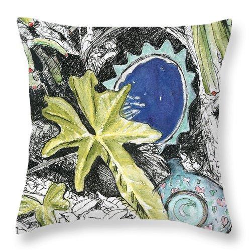 Fine Art Throw Pillow featuring the drawing A Potters Garden - Section 06 by Kerryn Madsen- Pietsch