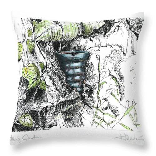 Fineart Throw Pillow featuring the drawing A Potters Garden - Section 07 by Kerryn Madsen- Pietsch