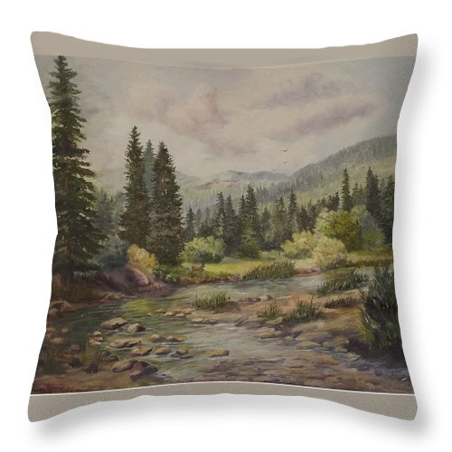 Landscape Throw Pillow featuring the painting A Rockey Mountain Stream by Wanda Dansereau