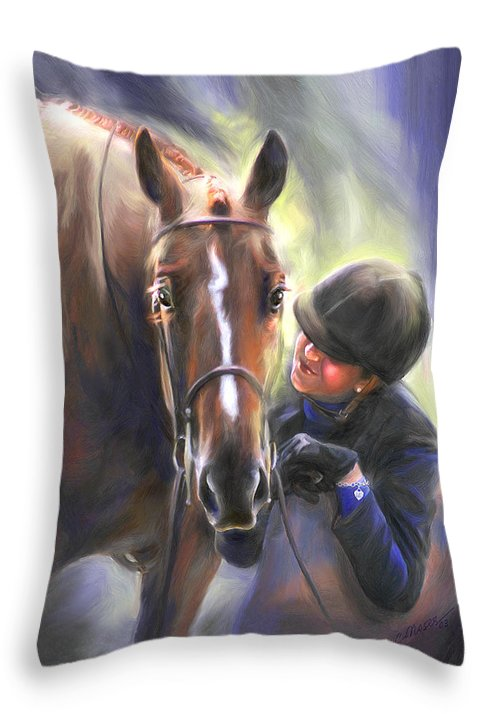 Horse Throw Pillow featuring the painting A Secret Shared Hunter Horse With Girl by Connie Moses