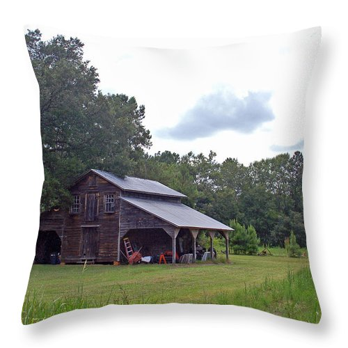 Tobacco Barn Throw Pillow featuring the photograph A Simpler Time--Tobacco Barn Series by Suzanne Gaff
