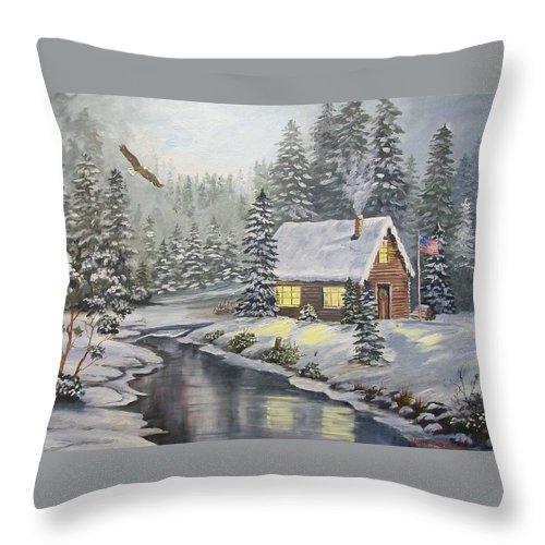 Christmas Throw Pillow featuring the painting A Snowey Mountain Christmas by Wanda Dansereau