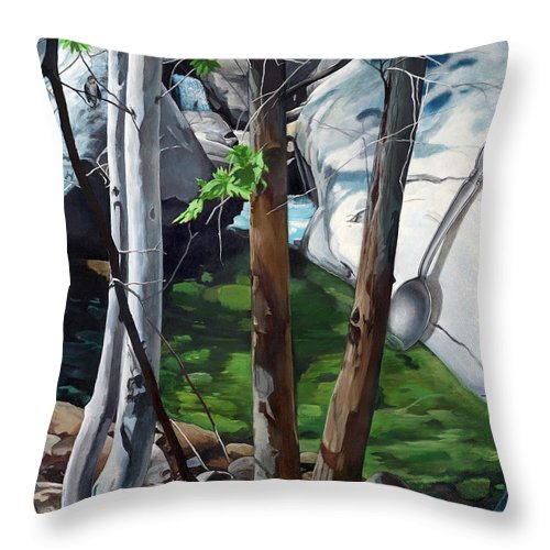 Landscape Throw Pillow featuring the painting A Taste of Nature by Snake Jagger
