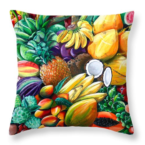 Caribbean Fruit Painting Tropical Fruit Painting Caribbean Pineapple Mangoes Bananas Coconut Watermelon Tropical Fruit Painting Throw Pillow featuring the painting A Taste Of The Islands by Karin Dawn Kelshall- Best