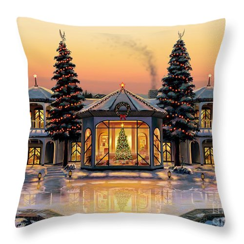 Christmas Throw Pillow featuring the painting A Warm Home For The Holidays by Stu Shepherd