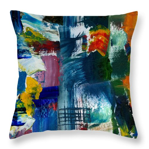 Abstract Collage Throw Pillow featuring the painting Abstract Color Relationships l by Michelle Calkins