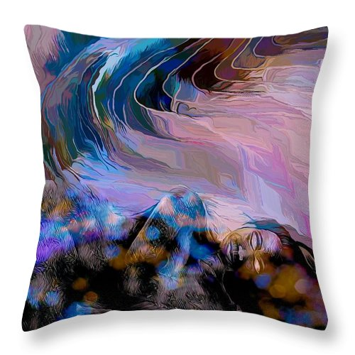 Modern Abstract Art Throw Pillow featuring the mixed media Abstract Island Girl Slumbering On The Beach by Joan Stratton
