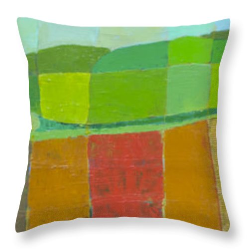 Landscape Throw Pillow featuring the painting Abstract Landscape 3 by Habib Ayat