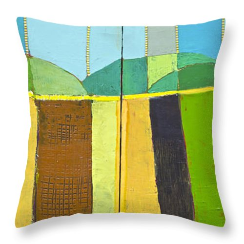 Landscape Throw Pillow featuring the painting Abstract landscape by Habib Ayat