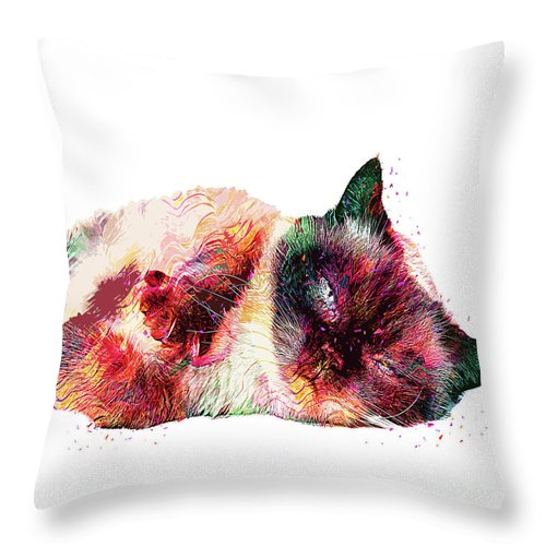 Cat Throw Pillow featuring the digital art Abstract Lazy Cat by Trindira A