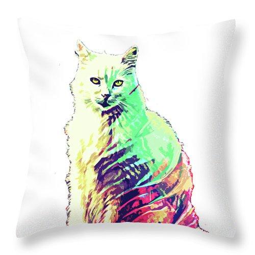Cat Throw Pillow featuring the digital art Abstrat Angora Cat by Trindira A