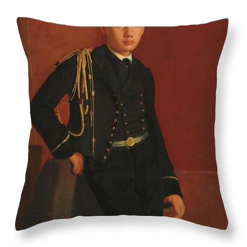 Edgar Degas Throw Pillow featuring the painting Achille De Gas In The Uniform Of A Cadet, 1857 by Edgar Degas