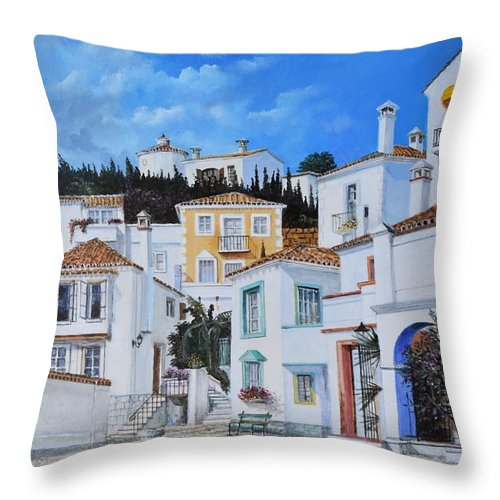 City Throw Pillow featuring the painting Afternoon Light In Montenegro by Sinisa Saratlic