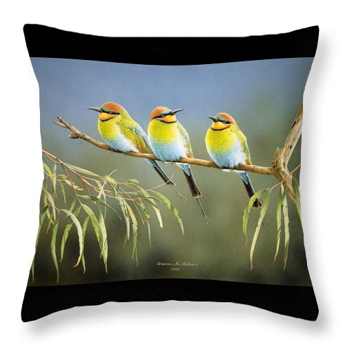 Bird Throw Pillow featuring the painting Afternoon Repose - Rainbow Bee-Eaters by Frances McMahon