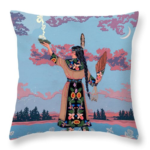 Native Woman Throw Pillow featuring the painting Agwamo - She Walks On Water by Chholing Taha
