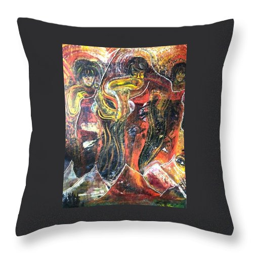 Women Throw Pillow featuring the painting Ain't No Mountain High Enough by Peggy Blood