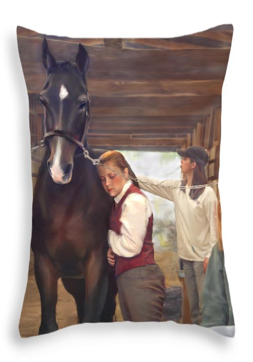 Horse Throw Pillow featuring the painting Aisle Hug Horse Show Barn Candid Moment by Connie Moses