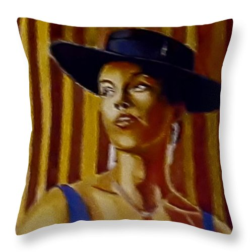 Portrait Throw Pillow featuring the painting Alica by Andrew Johnson