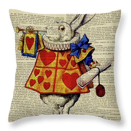 Alice In Wonderland Throw Pillow featuring the digital art Alice In Wonderland, Characters, Alice, Wonderland, Cheshire Cat, Queen Of Hearts, Mad Hatter, White by Trindira A