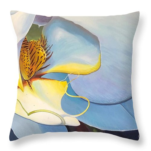 Orchid Throw Pillow featuring the painting All You Need is Now by Hunter Jay