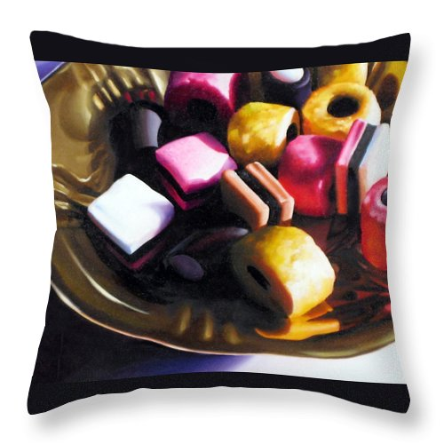 Allsorts Throw Pillow featuring the pastel Allsorts of Colour by Dianna Ponting