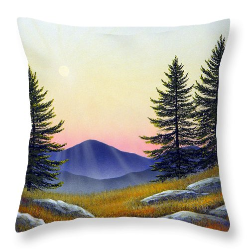 Landscape Throw Pillow featuring the painting Alpine Meadow by Frank Wilson