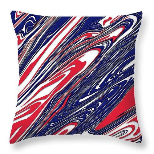 American Throw Pillow featuring the digital art America Red White Blue by Jack Entropy