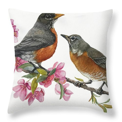 American Robins Throw Pillow featuring the painting American Robins State Bird Original Wildlife Watercolor by Linda Apple