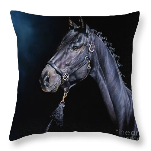 Hunter Throw Pillow featuring the pastel Amethyst by Joni Beinborn