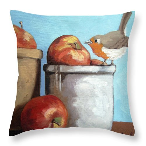 Oil Painting Throw Pillow featuring the painting An Apple A Day by Linda Apple
