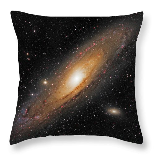 Andromeda Galaxy Throw Pillow featuring the photograph Andromeda Galaxy by Prabhu Astrophotography