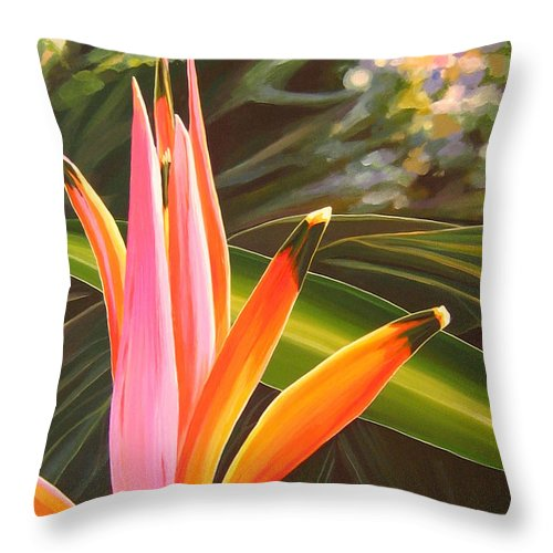 Botanical Throw Pillow featuring the painting Another World by Hunter Jay