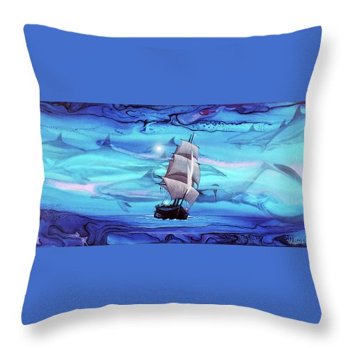 Blue Painting Throw Pillow featuring the painting Apnea by Angel Ortiz