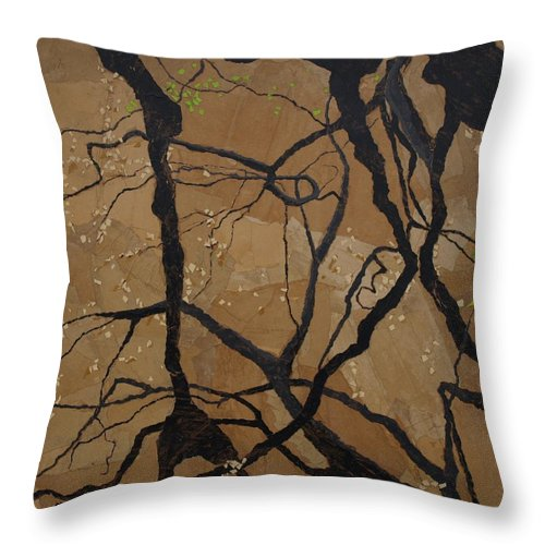 Abstract Tree Branches Throw Pillow featuring the painting Arboretum Dancers by Leah Tomaino