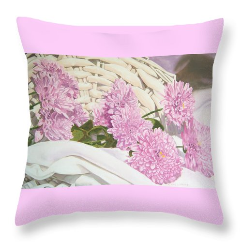Fine Art Print Throw Pillow featuring the painting Floral Art Print For Sale Still Life Oil Painting by Diane Jorstad