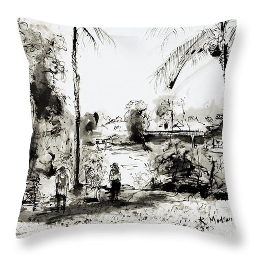 Tropical Throw Pillow featuring the painting Artists at work by the Johnstone River Innisfail FNQ  by Kerryn Madsen-Pietsch