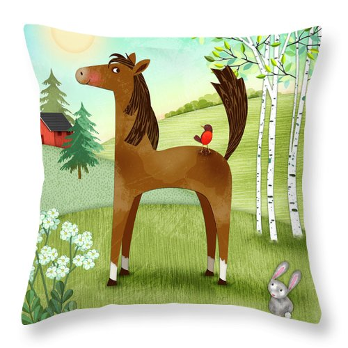 Letter H Throw Pillow featuring the digital art H Is For Henry The Horse by Valerie Drake Lesiak