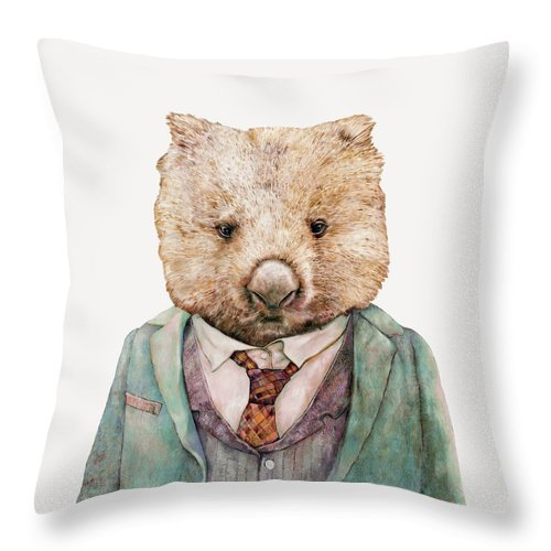 Wombat Throw Pillow featuring the painting Wombat by Animal Crew