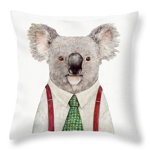 Koala Throw Pillow featuring the painting Koala by Animal Crew