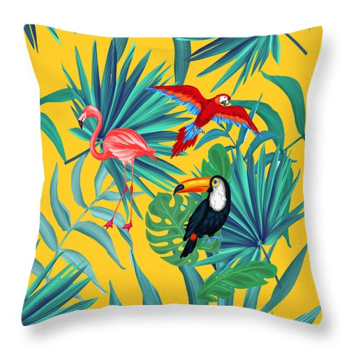 Parrot Throw Pillow featuring the digital art Yellow Tropic by Mark Ashkenazi