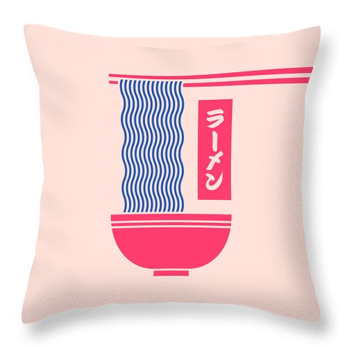 Ramen Throw Pillow featuring the digital art Ramen Japanese Food Noodle Bowl Chopsticks - Salmon by Organic Synthesis