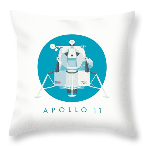 Apollo 11 Throw Pillow featuring the digital art Apollo Lunar Module Lander Minimal - Text Cyan by Organic Synthesis