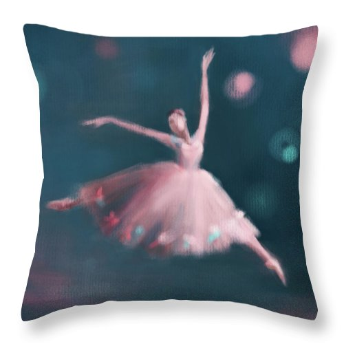 Ballerina Throw Pillow featuring the painting Ballet Dancer Pink and Peacock Blue by Beverly Brown