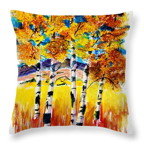Aspen Throw Pillow featuring the painting Aspen Glow by Donna Proctor