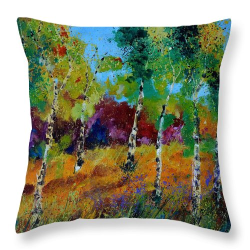 Landscape Throw Pillow featuring the painting Aspen trees in autumn by Pol Ledent